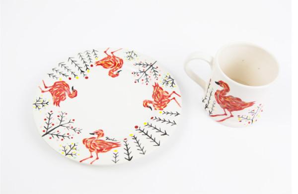 アトリエヨシエ手描き陶器-Flamingo